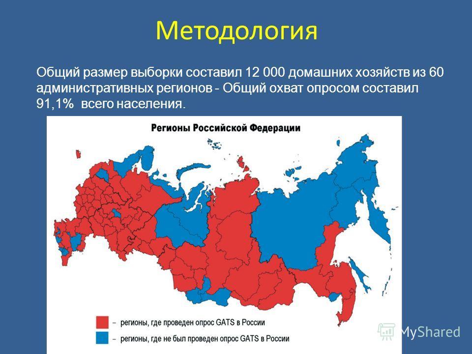 Методология Общий размер выборки составил 12 000 домашних хозяйств из 60 административных регионов - Общий охват опросом составил 91,1% всего населения.