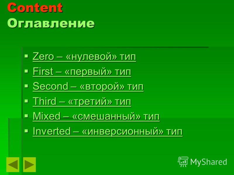 Content Оглавление Zero – «нулевой» тип Zero – «нулевой» тип Zero – «нулевой» тип Zero – «нулевой» тип First – «первый» тип First – «первый» тип First – «первый» тип First – «первый» тип Second – «второй» тип Second – «второй» тип Second – «второй» т