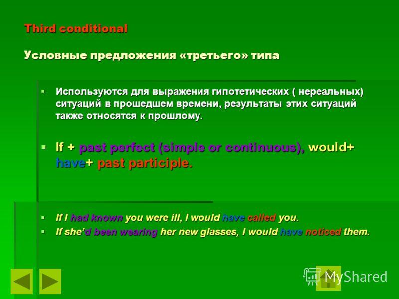 Third conditional Условные предложения «третьего» типа Используются для выражения гипотетических ( нереальных) ситуаций в прошедшем времени, результаты этих ситуаций также относятся к прошлому. Используются для выражения гипотетических ( нереальных)