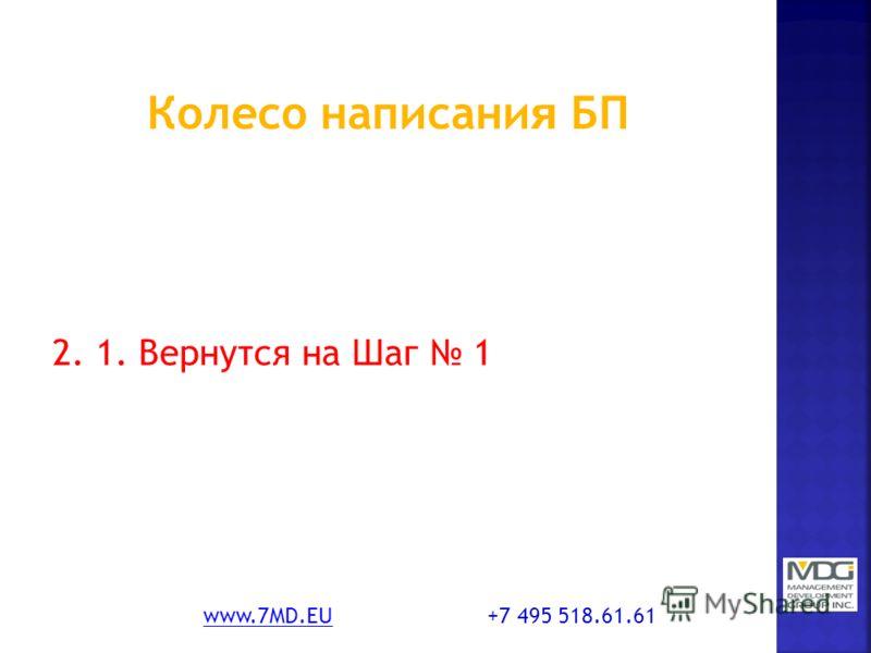 2. 1. Вернутся на Шаг 1 www.7MD.EUwww.7MD.EU +7 495 518.61.61
