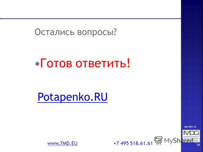 06/09/12 34 www.7MD.EUwww.7MD.EU +7 495 518.61.61 Остались вопросы? Готов ответить! Potapenko.RU