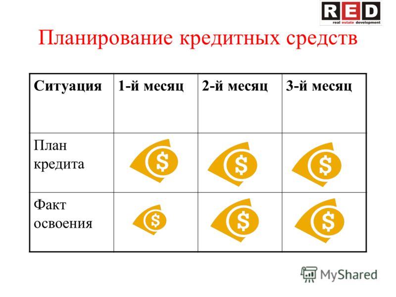 Планирование кредитных средств Ситуация1-й месяц2-й месяц3-й месяц План кредита Факт освоения