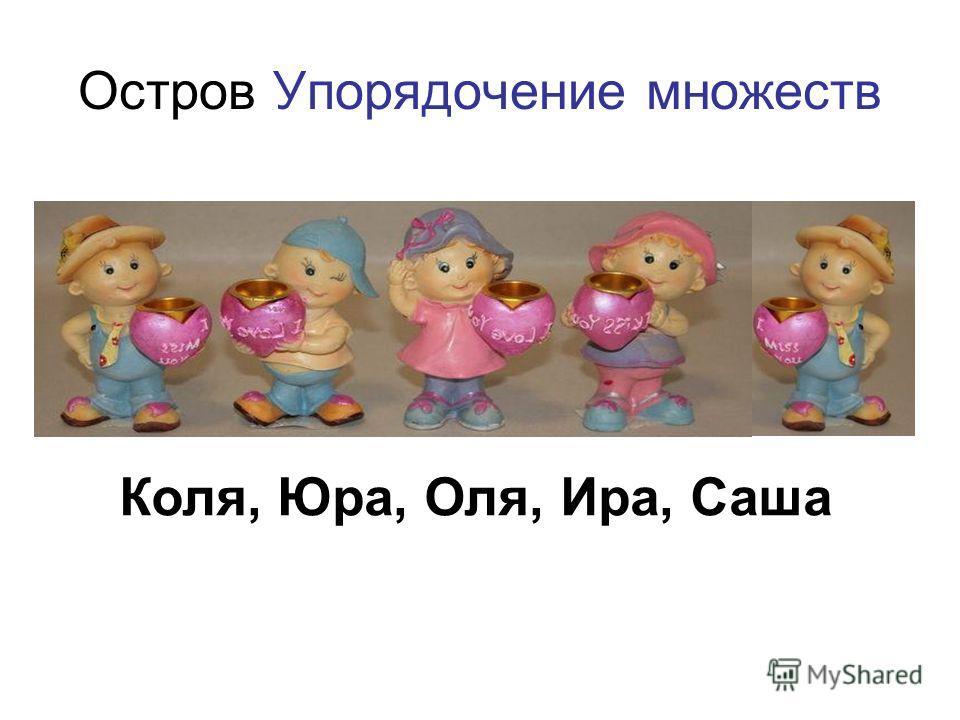 Остров Упорядочение множеств Коля, Юра, Оля, Ира, Саша