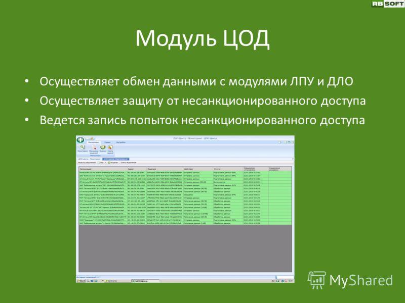 Модуль ЦОД Осуществляет обмен данными с модулями ЛПУ и ДЛО Осуществляет защиту от несанкционированного доступа Ведется запись попыток несанкционированного доступа
