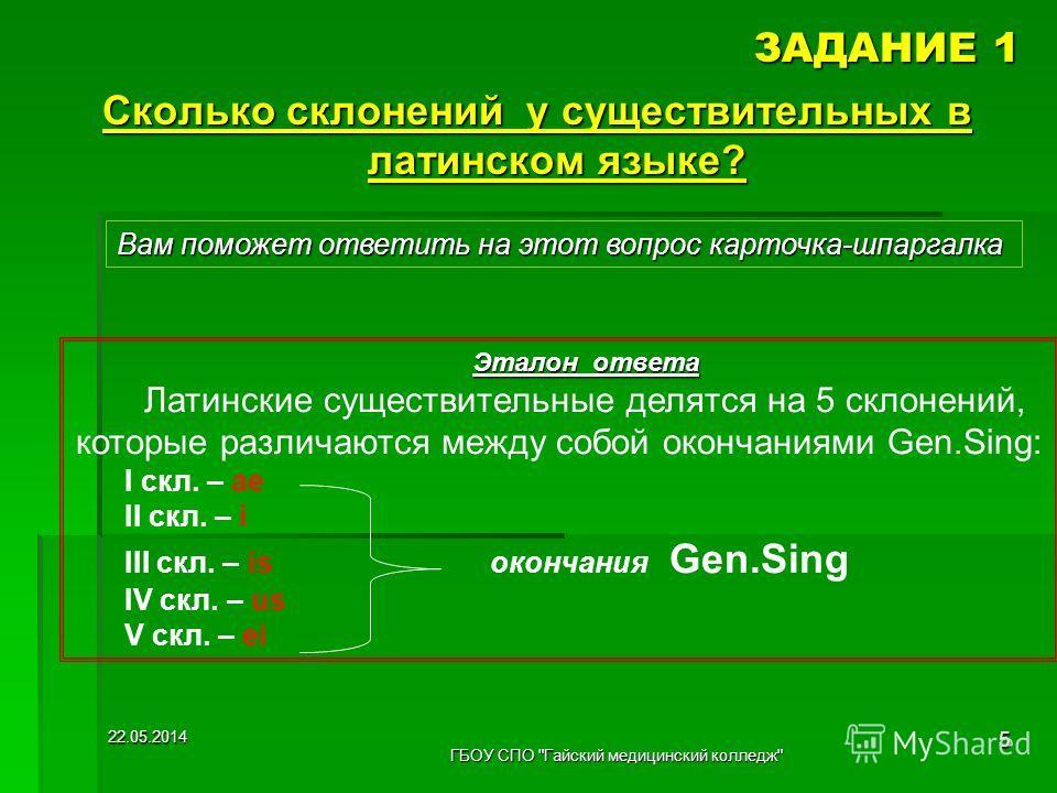 ЗАДАНИЕ 1 Сколько склонений у существительных в латинском языке? Вам поможет ответить на этот вопрос карточка-шпаргалка Эталон ответа Латинские существительные делятся на 5 склонений, которые различаются между собой окончаниями Gen.Sing: I скл. – ae