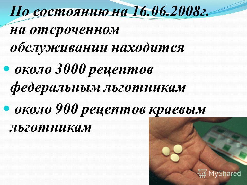 По состоянию на 16.06.2008г. на отсроченном обслуживании находится около 3000 рецептов федеральным льготникам около 900 рецептов краевым льготникам
