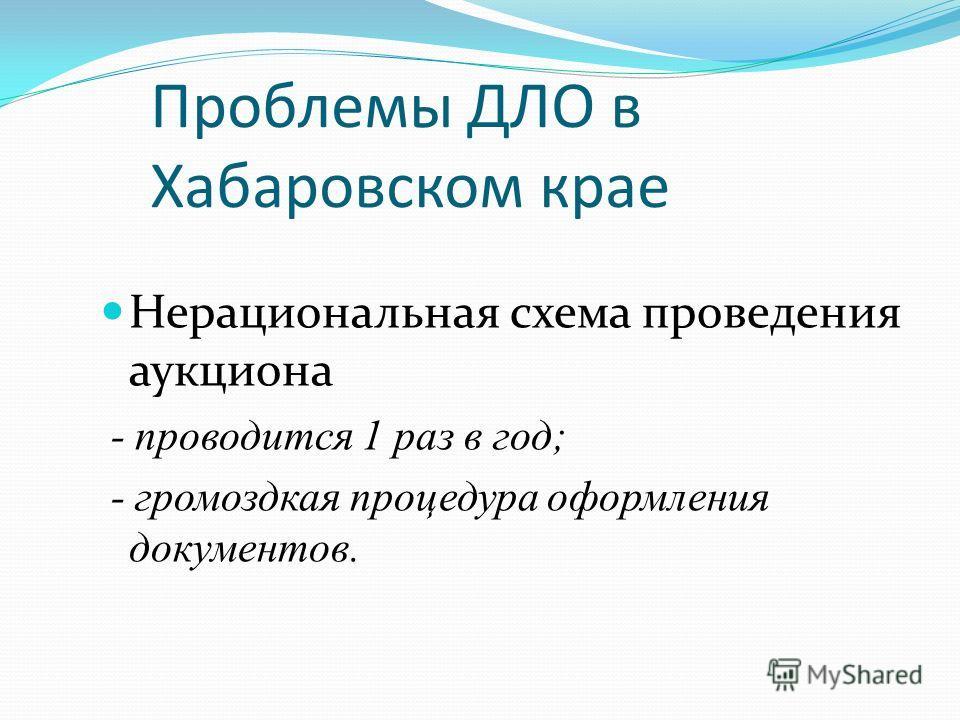 Проблемы ДЛО в Хабаровском крае Нерациональная схема проведения аукциона - проводится 1 раз в год; - громоздкая процедура оформления документов.