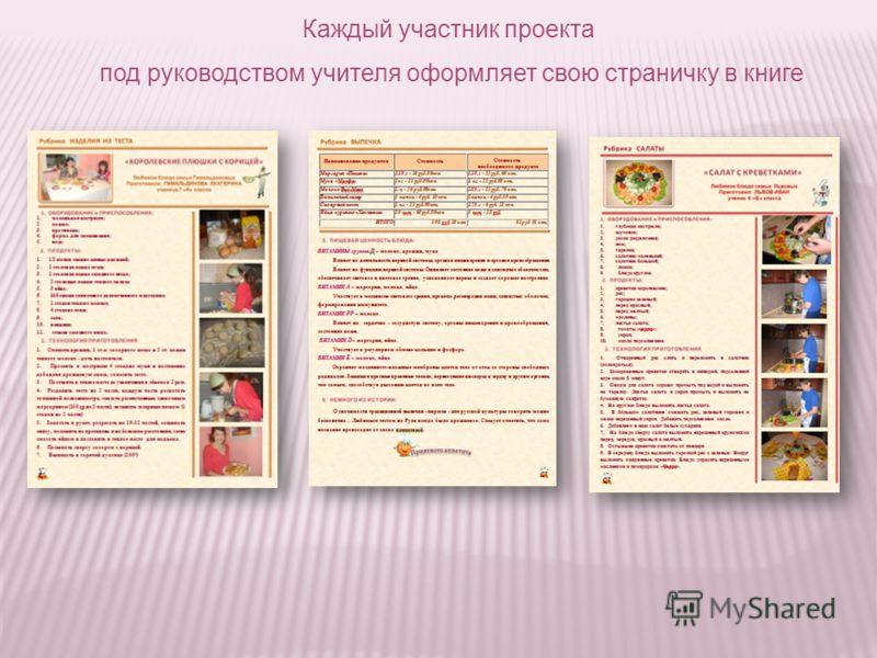 Каждый участник проекта под руководством учителя оформляет свою страничку в книге
