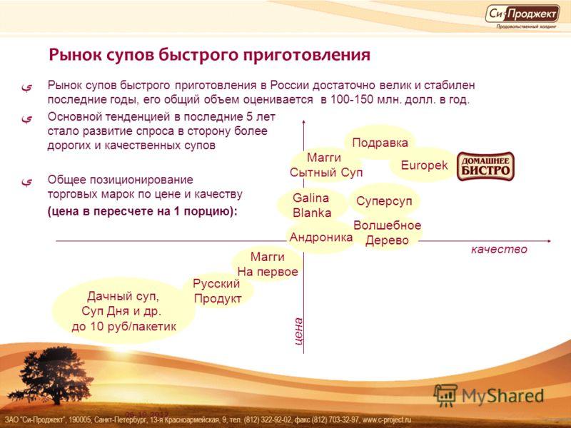 14.08.2012 Рынок супов быстрого приготовления Рынок супов быстрого приготовления в России достаточно велик и стабилен последние годы, его общий объем оценивается в 100-150 млн. долл. в год. Основной тенденцией в последние 5 лет стало развитие спроса