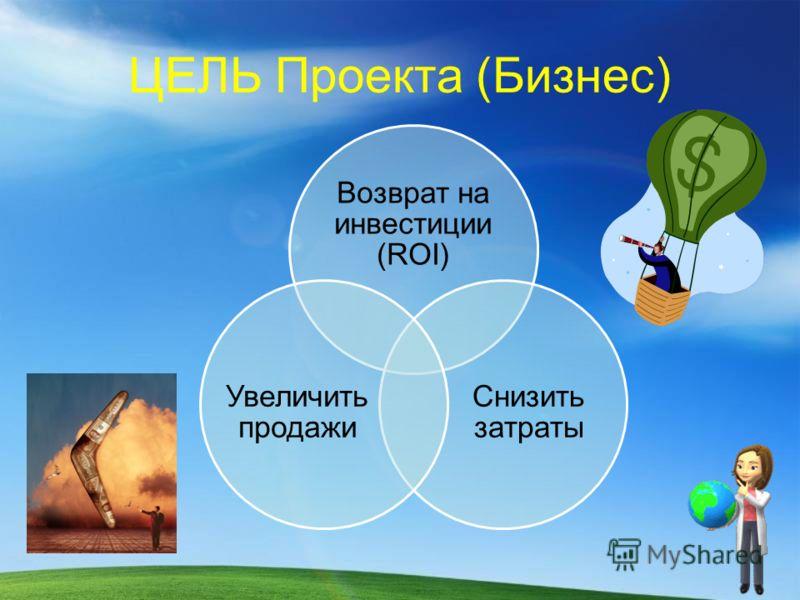 ЦЕЛЬ Проекта (Бизнес) Возврат на инвестиции (ROI) Снизить затраты Увеличить продажи
