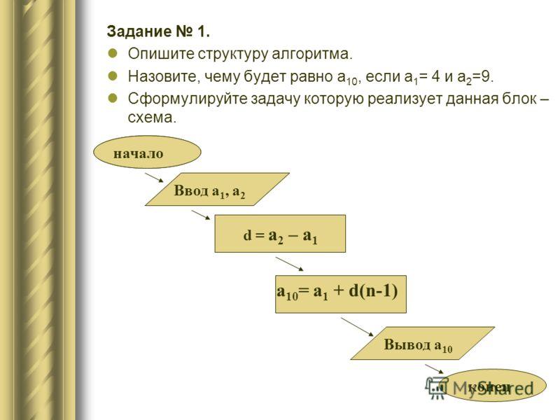 Задание 1. Опишите структуру алгоритма. Назовите, чему будет равно a 10, если а 1 = 4 и а 2 =9. Сформулируйте задачу которую реализует данная блок – схема. начало конец Ввод а 1, а 2 d = a 2 – a 1 a 10 = a 1 + d(n-1) Вывод а 10 начало Ввод а 1, а 2