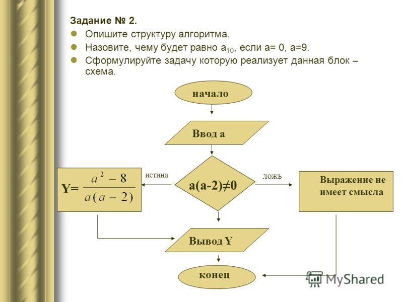 Задание 2. Опишите структуру алгоритма. Назовите, чему будет равно a 10, если а= 0, а=9. Сформулируйте задачу которую реализует данная блок – схема. конец Вывод Y начало Ввод а a(a-2)0 Y= Выражение не имеет смысла истина ложь
