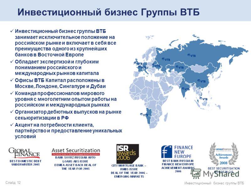 Слайд 12 Инвестиционный бизнес группы ВТБ Инвестиционный бизнес группы ВТБ занимает исключительное положение на российском рынке и включает в себя все преимущества одного из крупнейших банков в Восточной Европе Обладает экспертизой и глубоким пониман