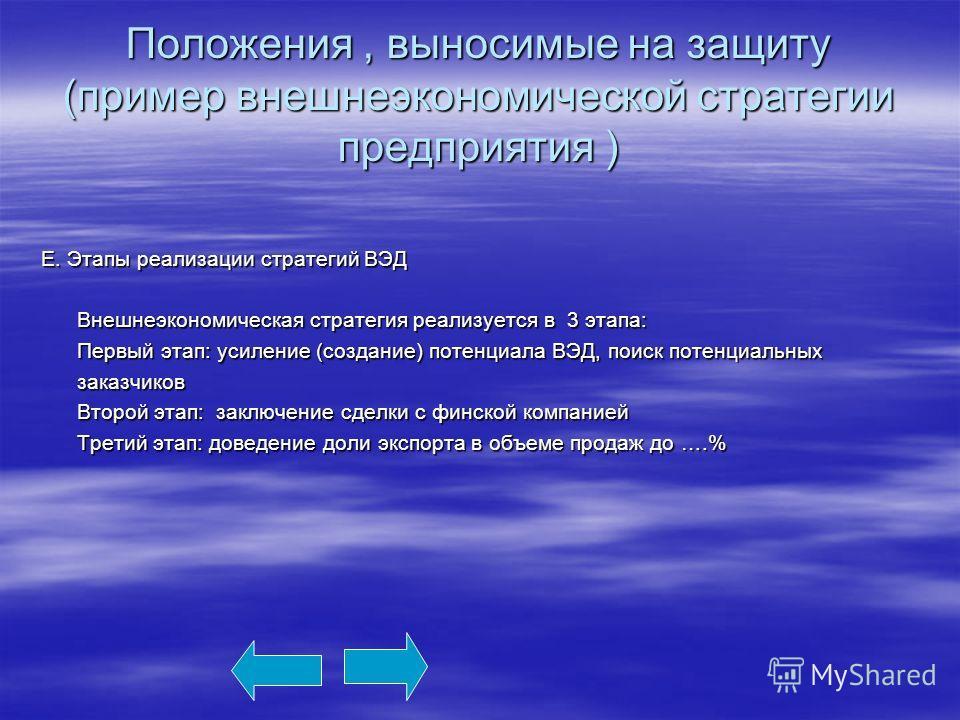 Положения, выносимые на защиту (пример внешнеэкономической стратегии предприятия ) Е. Этапы реализации стратегий ВЭД Внешнеэкономическая стратегия реализуется в 3 этапа: Внешнеэкономическая стратегия реализуется в 3 этапа: Первый этап: усиление (созд