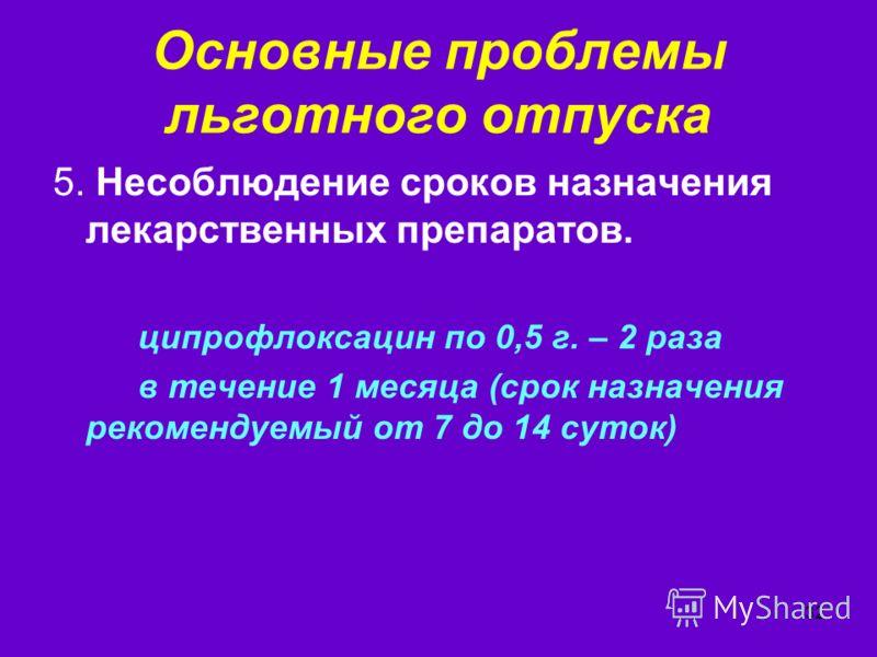 32 Основные проблемы льготного отпуска 5. Несоблюдение сроков назначения лекарственных препаратов. ципрофлоксацин по 0,5 г. – 2 раза в течение 1 месяца (срок назначения рекомендуемый от 7 до 14 суток)