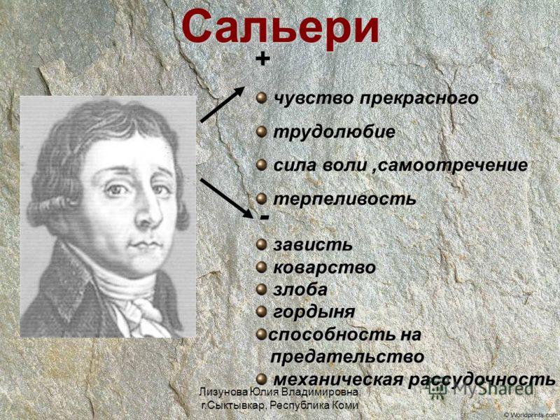 Лизунова Юлия Владимировна, г.Сыктывкар, Республика Коми Сальери + чувство прекрасного трудолюбие сила воли,самоотречение терпеливость - -- - зависть зависть коварство коварство злоба злоба гордыня гордыня способность на предательство предательство м