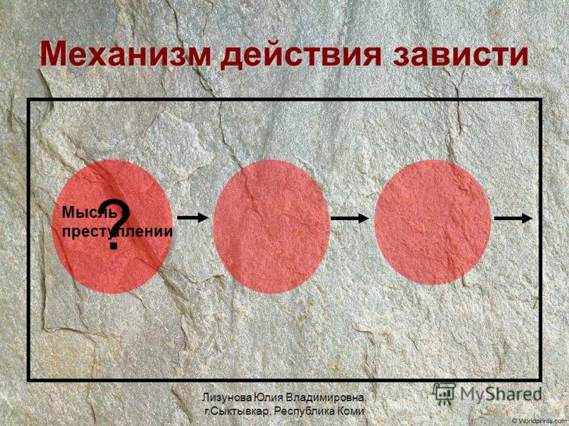 Лизунова Юлия Владимировна, г.Сыктывкар, Республика Коми Механизм действия зависти ? Мысль о преступлении