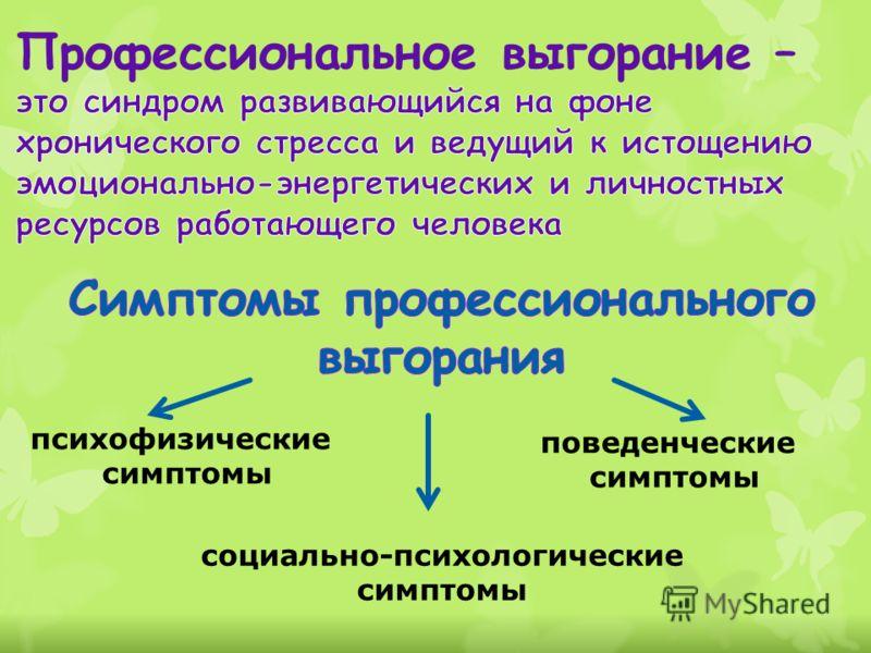 психофизические симптомы социально-психологические симптомы поведенческие симптомы
