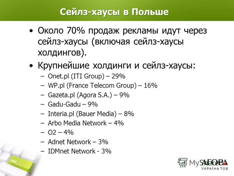 Сейлз-хаусы в Польше Около 70% продаж рекламы идут через сейлз-хаусы (включая сейлз-хаусы холдингов). Крупнейшие холдинги и сейлз-хаусы: –Onet.pl (ITI Group) – 29% –WP.pl (France Telecom Group) – 16% –Gazeta.pl (Agora S.A.) – 9% –Gadu-Gadu – 9% –Inte