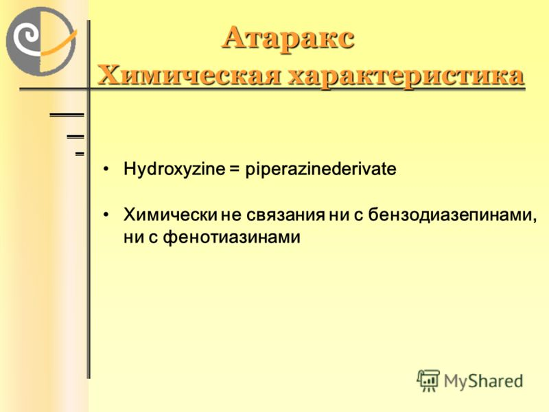 Атаракс Химическая характеристика Hydroxyzine = piperazinederivate Химически не связания ни с бензодиазепинами, ни с фенотиазинами
