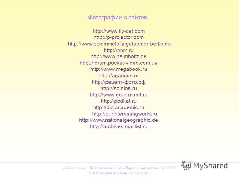 «Биология» | Издательский дом «Первое сентября» | 3/2012 Благородная плесень. | Слайд 7 http://www.fly-cat.com http://p-projector.com http://www.schimmelpilz-gutachter-berlin.de http://nnm.ru http://www.helmholtz.de http://forum.pocket-video.com.ua h