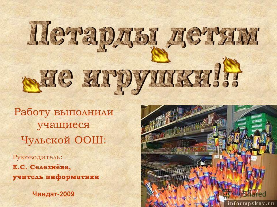 Работу выполнили учащиеся Чульской ООШ: Чиндат-2009 Руководитель: Е.С. Селезнёва, учитель информатики
