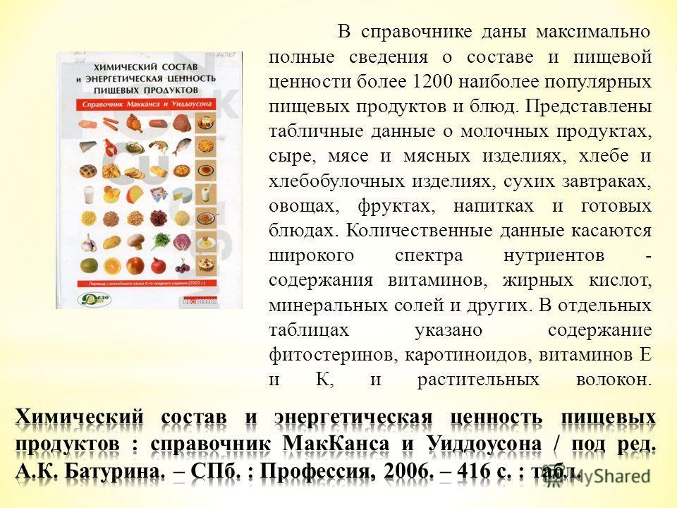 В справочнике даны максимально полные сведения о составе и пищевой ценности более 1200 наиболее популярных пищевых продуктов и блюд. Представлены табличные данные о молочных продуктах, сыре, мясе и мясных изделиях, хлебе и хлебобулочных изделиях, сух