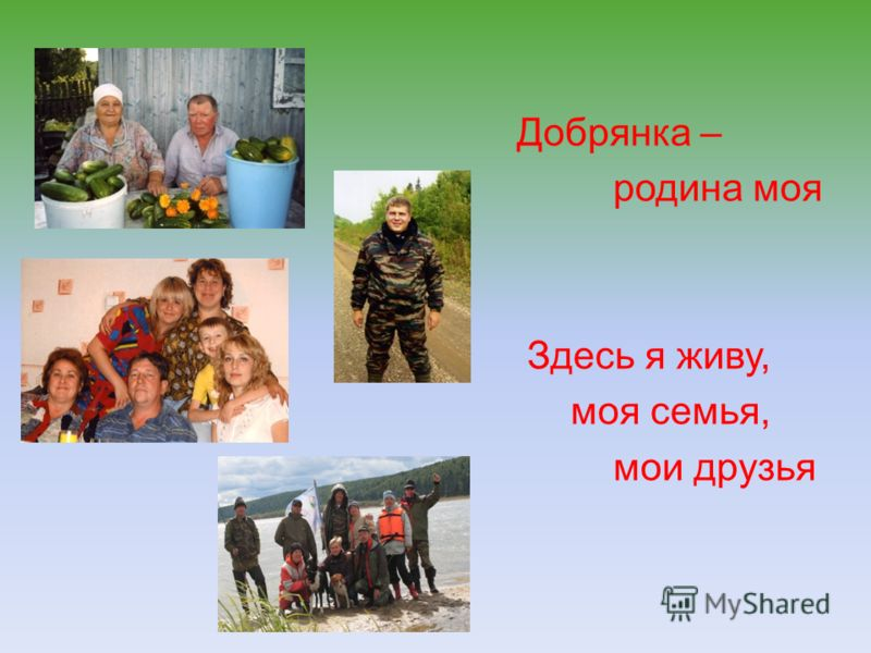 Добрянка – родина моя Здесь я живу, моя семья, мои друзья