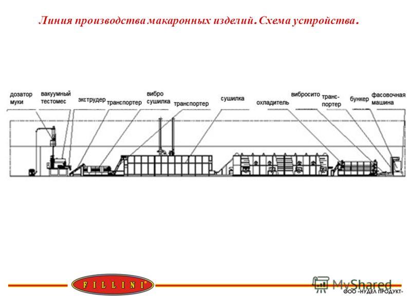 Линия производства макаронных изделий. Схема устройства.