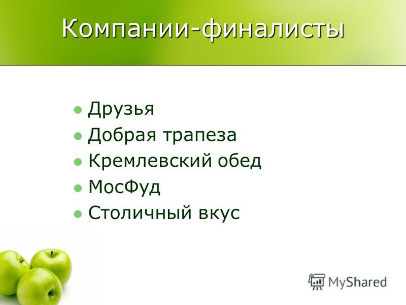 Компании-финалисты Друзья Добрая трапеза Кремлевский обед МосФуд Столичный вкус
