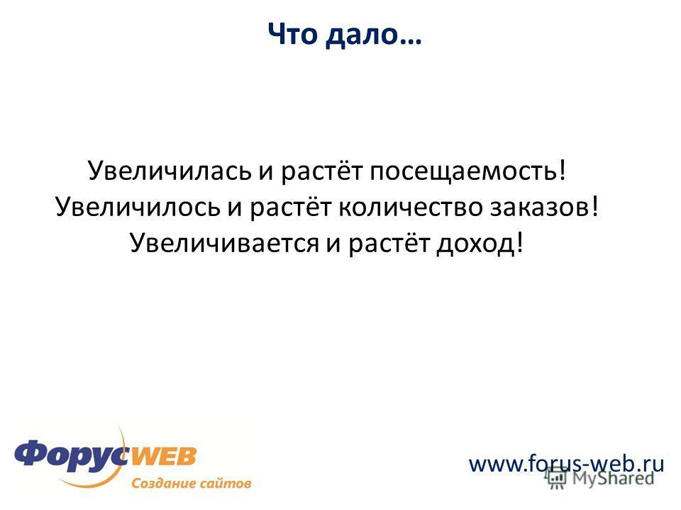www.forus-web.ru Что дало… Увеличилась и растёт посещаемость! Увеличилось и растёт количество заказов! Увеличивается и растёт доход!