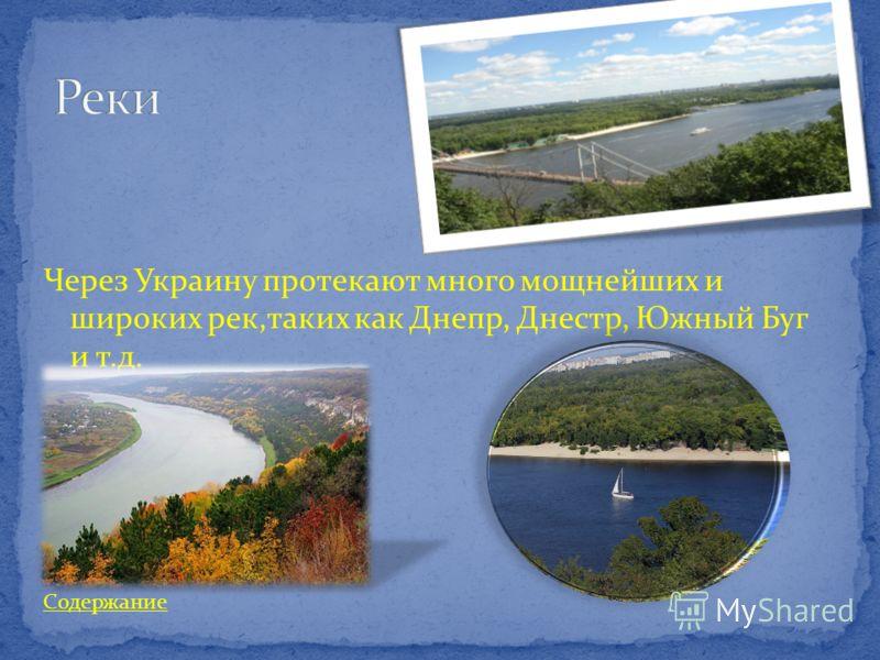 Через Украину протекают много мощнейших и широких рек,таких как Днепр, Днестр, Южный Буг и т.д. Содержание