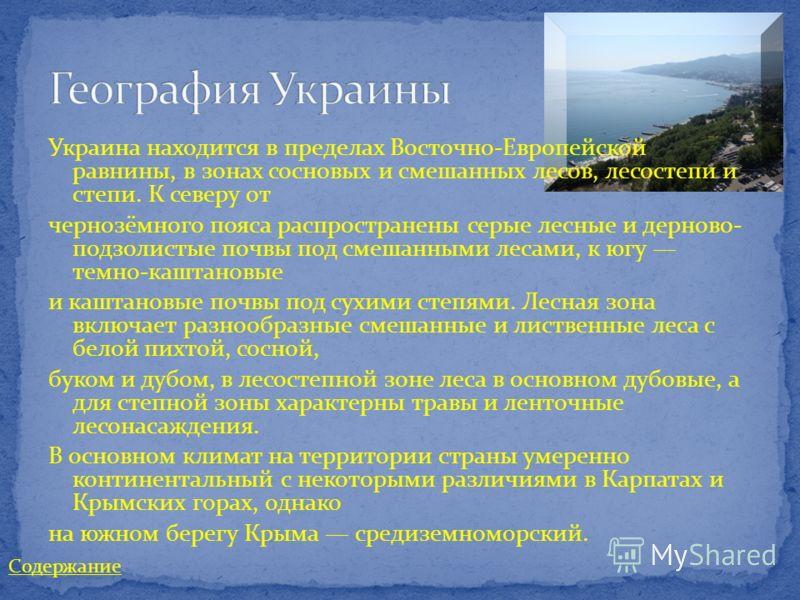 Украина находится в пределах Восточно-Европейской равнины, в зонах сосновых и смешанных лесов, лесостепи и степи. К северу от чернозёмного пояса распространены серые лесные и дерново- подзолистые почвы под смешанными лесами, к югу темно-каштановые и