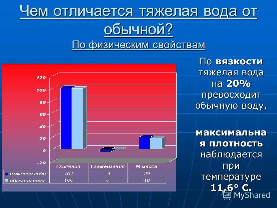 Чем отличается тяжелая вода от обычной? По физическим свойствам По вязкости тяжелая вода на 20% превосходит обычную воду, максимальна я плотность наблюдается при температуре 11,6° C.