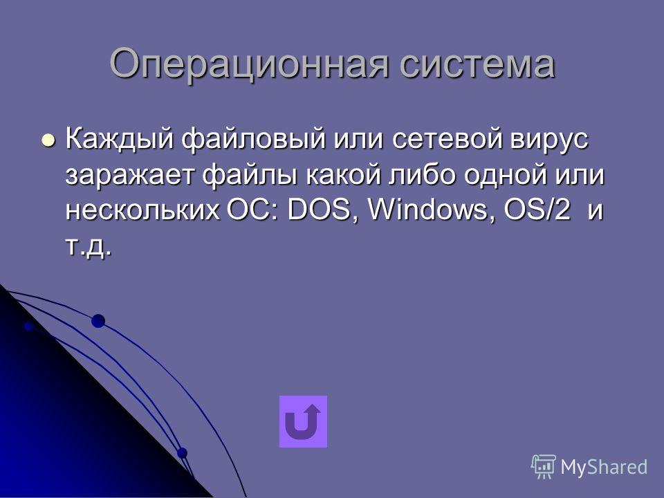 Операционная система Каждый файловый или сетевой вирус заражает файлы какой либо одной или нескольких ОС: DOS, Windows, OS/2 и т.д. Каждый файловый или сетевой вирус заражает файлы какой либо одной или нескольких ОС: DOS, Windows, OS/2 и т.д.