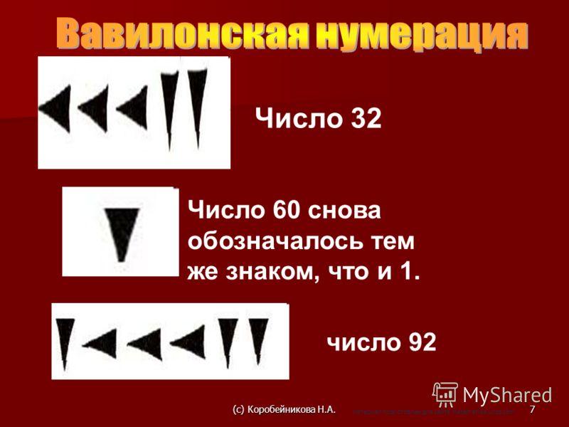 Число 32 Число 60 снова обозначалось тем же знаком, что и 1. число 92 7(c) Коробейникова Н.А. материал подготовлен для сайта matematika.ucoz.com