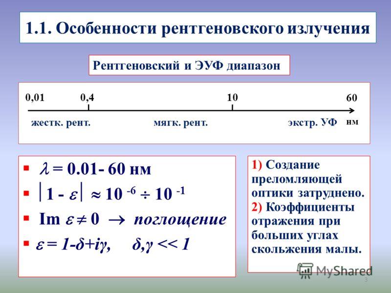 1.1. Особенности рентгеновского излучения 3 0,010,410 нм 6060 экстр. УФмягк. рент.жестк. рент. Рентгеновский и ЭУФ диапазон = 0.01- 60 нм 1 - 10 -6 10 -1 Im 0 поглощение = 1-δ+iγ, δ,γ
