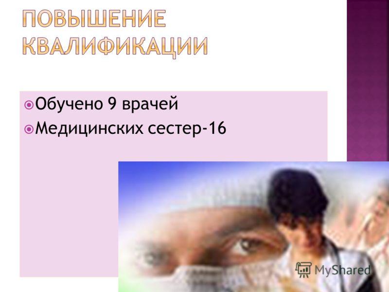 Обучено 9 врачей Медицинских сестер-16