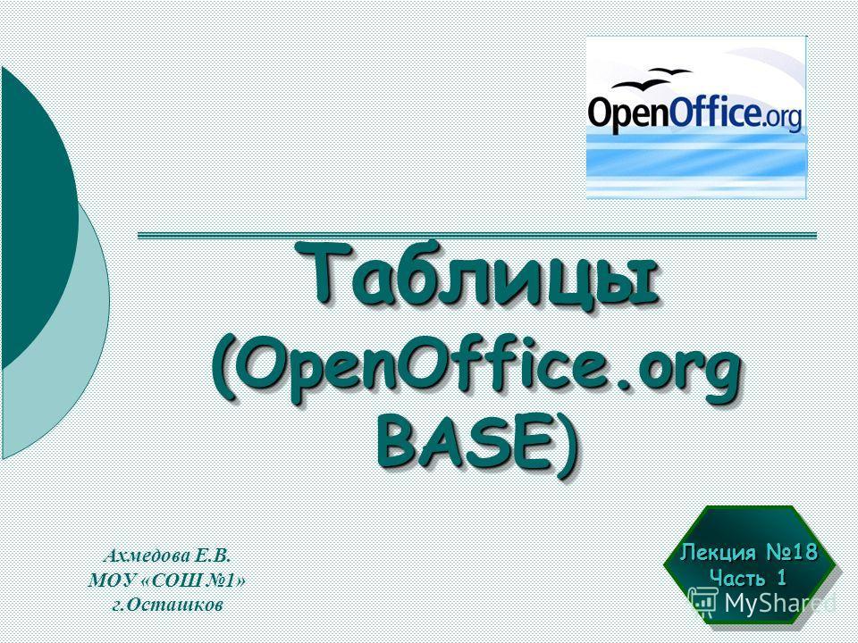 Таблицы (OpenOffice.org BASE) Ахмедова Е.В. МОУ «СОШ 1» г.Осташков Лекция 18 Часть 1 Лекция 18 Часть 1