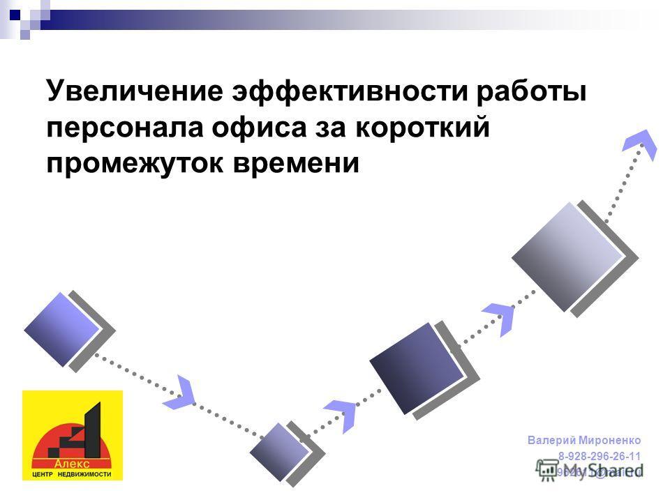 Увеличение эффективности работы персонала офиса за короткий промежуток времени Валерий Мироненко 8-928-296-26-11 962611@mail.ru