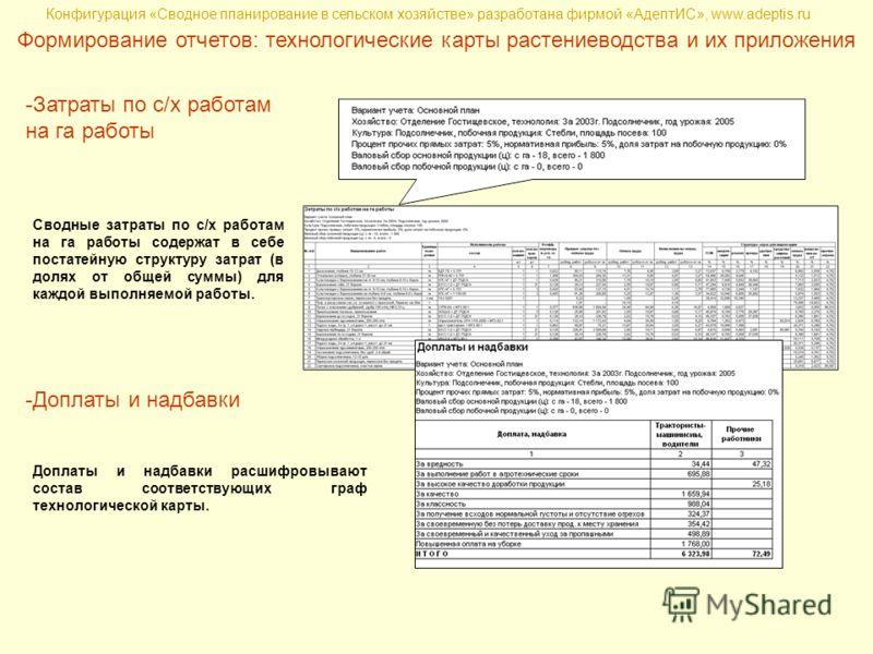 Конфигурация «Сводное планирование в сельском хозяйстве» разработана фирмой «АдептИС», www.adeptis.ru Формирование отчетов: технологические карты растениеводства и их приложения -Затраты по с/х работам на га работы Сводные затраты по с/х работам на г