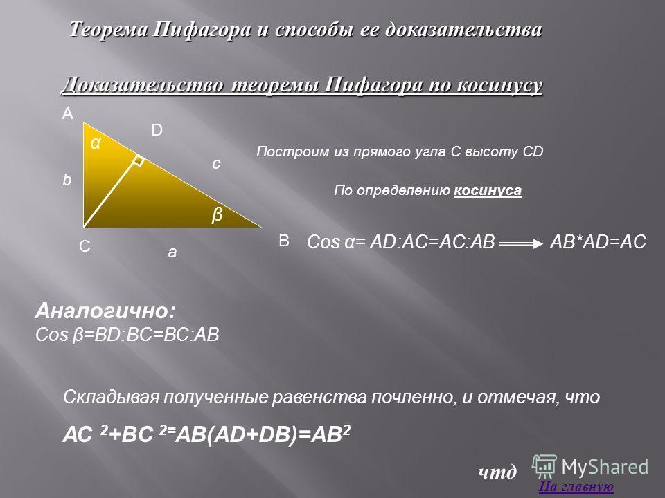 Теорема Пифагора и способы ее доказательства Доказательство теоремы Пифагора по косинусу Построим из прямого угла С высоту СD По определению косинуса Cos α= AD:AC=AC:ABAB*AD=AC Аналогично: Cos β=BD:BC=BC:AB Складывая полученные равенства почленно, и