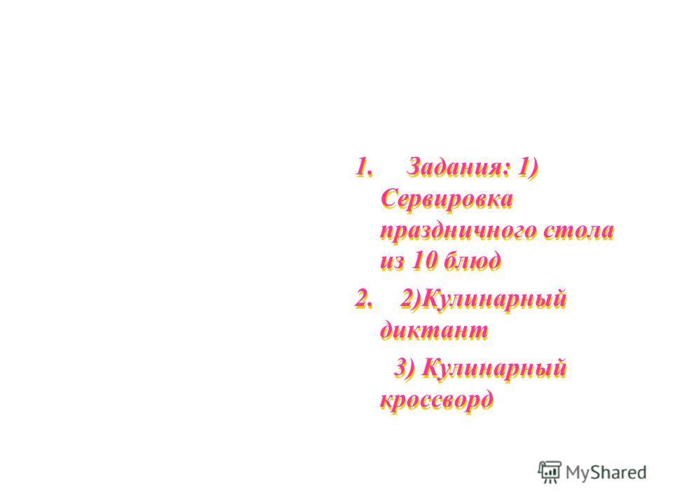 1. Задания: 1) Сервировка праздничного стола из 10 блюд 2. 2)Кулинарный диктант 3) Кулинарный кроссворд 1. Задания: 1) Сервировка праздничного стола из 10 блюд 2. 2)Кулинарный диктант 3) Кулинарный кроссворд