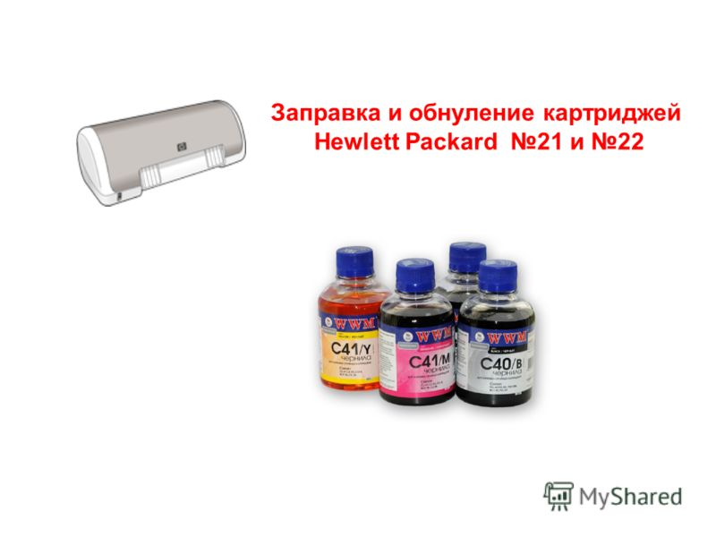 Презентацию подготовил dyz.ig@mail.ru Заправка и обнуление картриджей Hewlett Packard 21 и 22