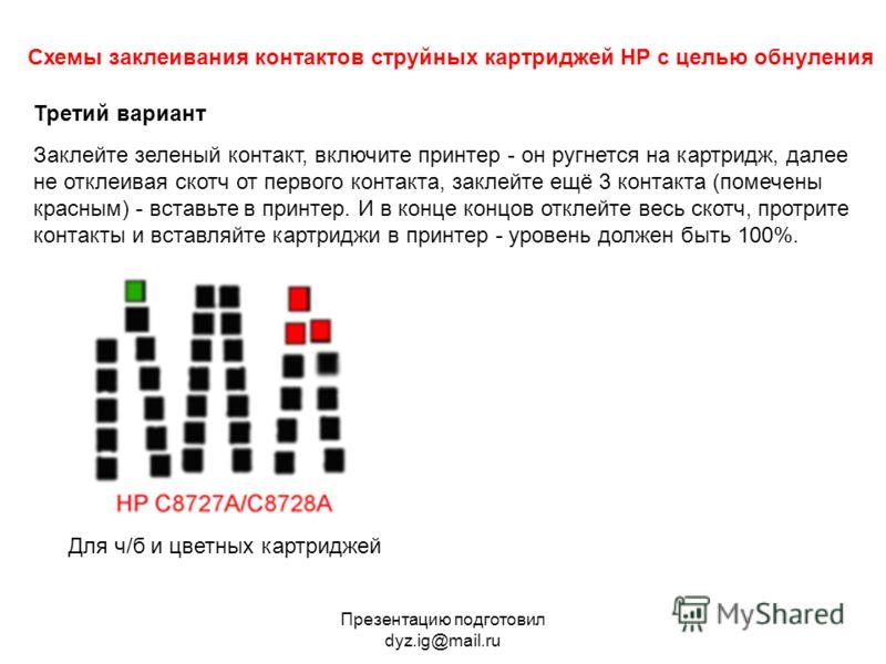 струйных картриджей HP с