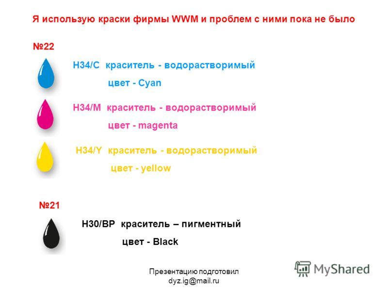Презентацию подготовил dyz.ig@mail.ru Я использую краски фирмы WWM и проблем с ними пока не было 22 21 H30/BP краситель – пигментный цвет - Black H34/С краситель - водорастворимый цвет - Cyan H34/M краситель - водорастворимый цвет - magenta H34/Y кра