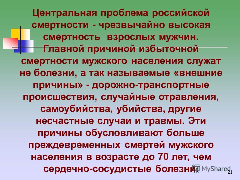 21 Центральная проблема российской смертности - чрезвычайно высокая смертность взрослых мужчин. Главной причиной избыточной смертности мужского населения служат не болезни, а так называемые «внешние причины» - дорожно-транспортные происшествия, случа