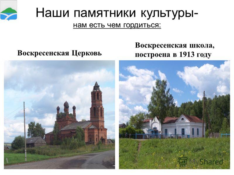 19 Наши памятники культуры- нам есть чем гордиться: Воскресенская Церковь Воскресенская школа, построена в 1913 году