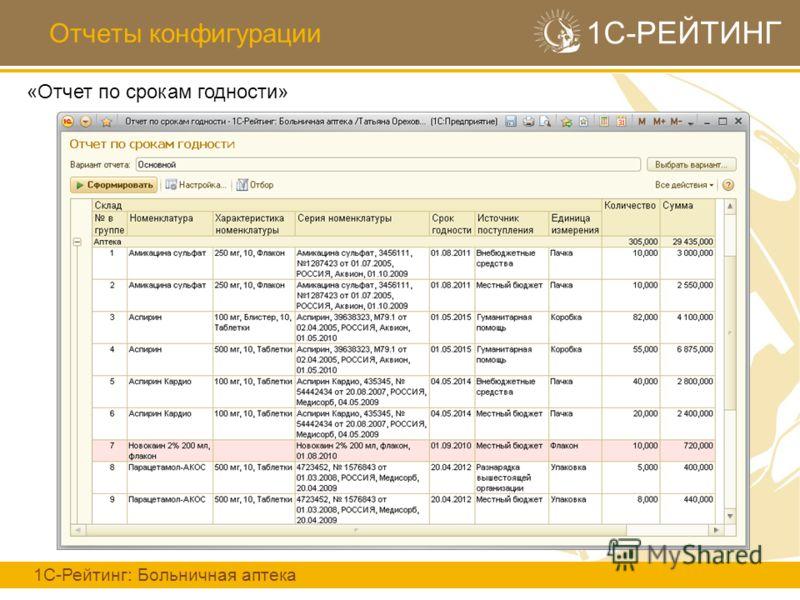 Отчеты конфигурации 1С-РЕЙТИНГ 1С-Рейтинг: Больничная аптека «Отчет по срокам годности»