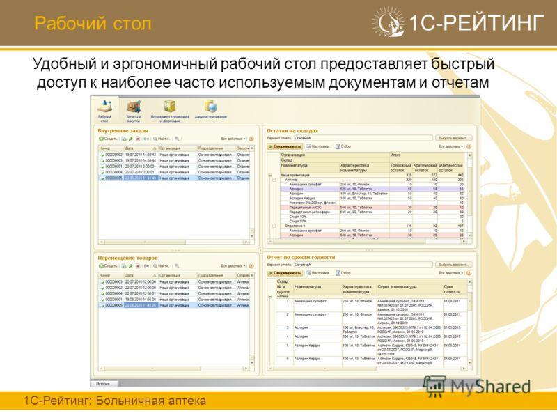 Рабочий стол 1С-РЕЙТИНГ 1С-Рейтинг: Больничная аптека Удобный и эргономичный рабочий стол предоставляет быстрый доступ к наиболее часто используемым документам и отчетам